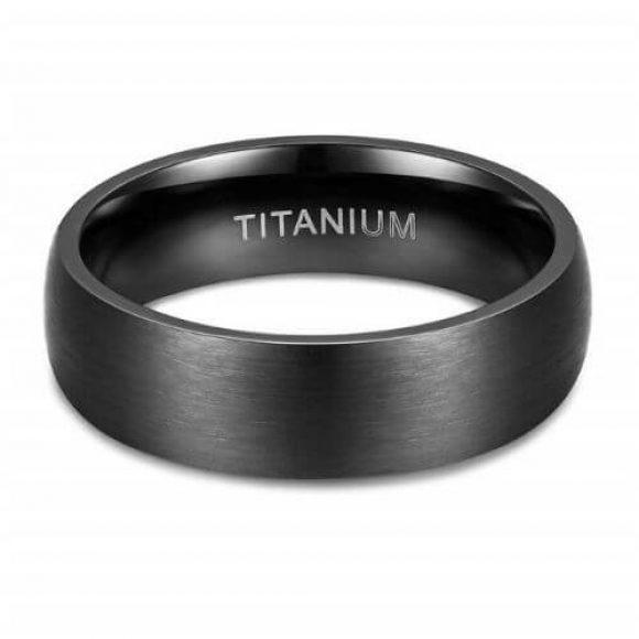 Titanium Men's Ring in Brushed Black