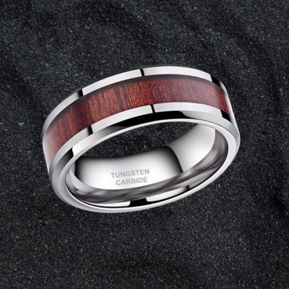 Tungsten and Wood Ring for Men