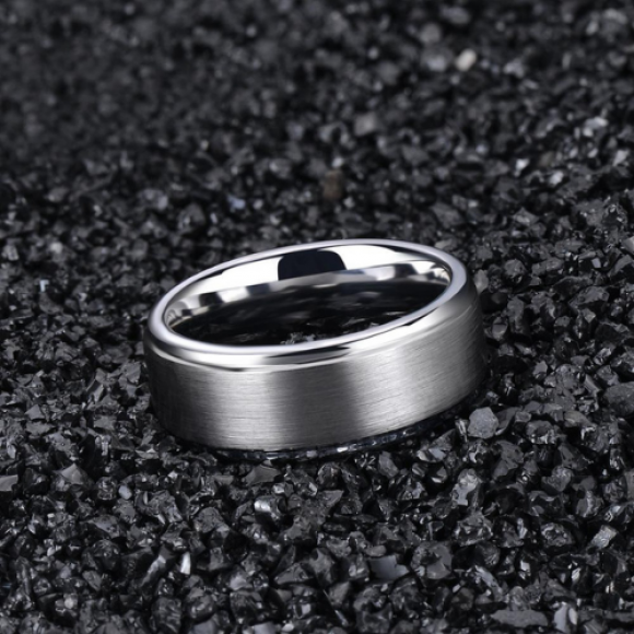 Men's Tungsten Ring - Brushed Silver